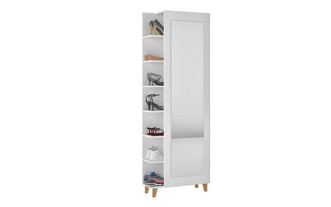 Minetta Mid Century Shoe Closet White
