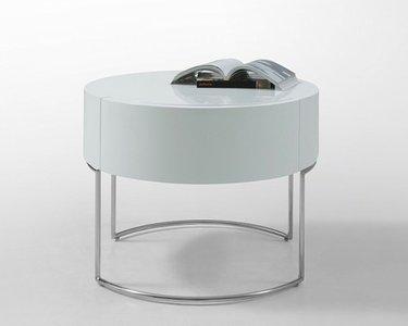 Liv Modern Lacquer Round Nightstand White