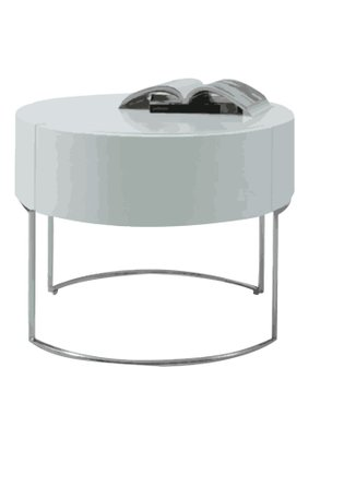 Liv Modern Lacquer Round Nightstand White