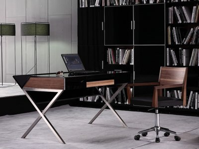 Modrest Orwell Contemporary Minimal Office Desk Black And Walnut