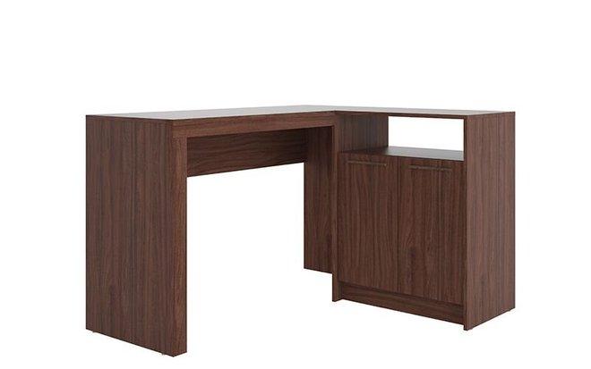 Kalmar L -Shaped Office Desk Dark Brown