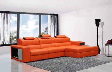 Divani Casa Polaris Reversible Sectional Sofa Orange