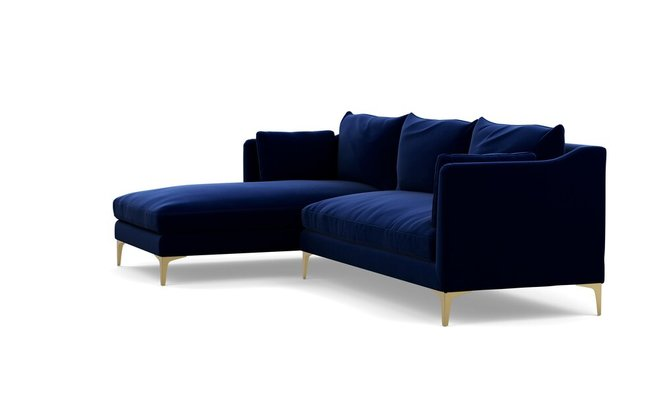 Caitlin Left Extended Sectional Sofa Bergen Blue