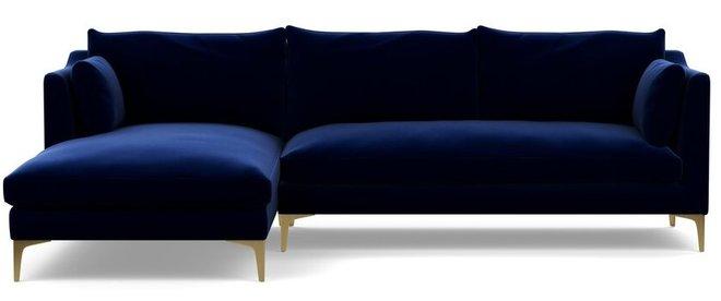 Interior Define Caitlin Left Extended Sectional Sofa Bergen Blue