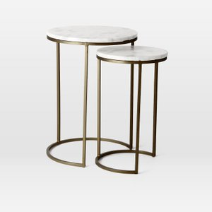 Round Nesting Side Tables White And Burnished Bronze