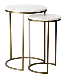 West Elm Round Nesting Side Tables White And Burnished Bronze