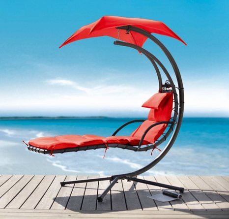 Renava Bahama Outdoor Hanging Lounge Chair Red