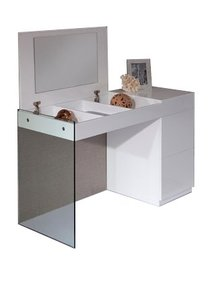 Modern Floating Glass Vanity With Mirror White