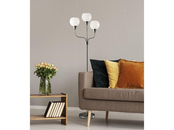 Phillip 3-Arm Floor Lamp Brushed Steel