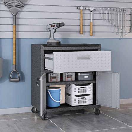 Fortress 3 Piece Set, Mobile Garage Cabinet & Worktable 2.0 Gray/Brown