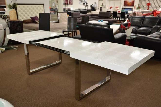 A&X Skyline Gloss Extendable Dining Table White