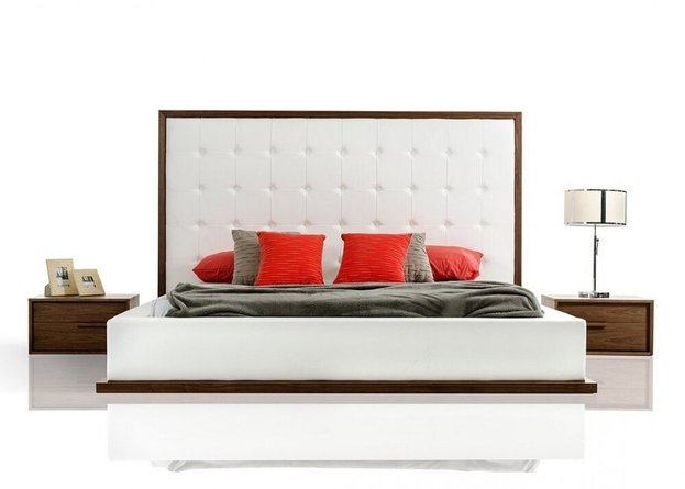 Modrest Beth Queen Bed Walnut And White