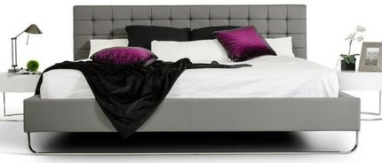 Modrest Gemma Modern Leatherette Queen Bed Gray