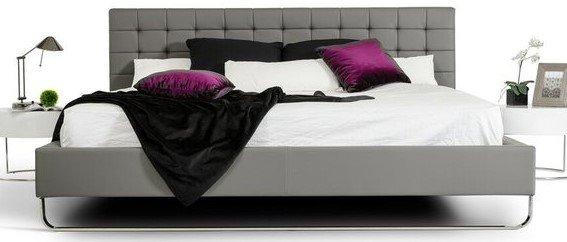 Modrest Gemma Modern Leatherette Queen Bed Gray