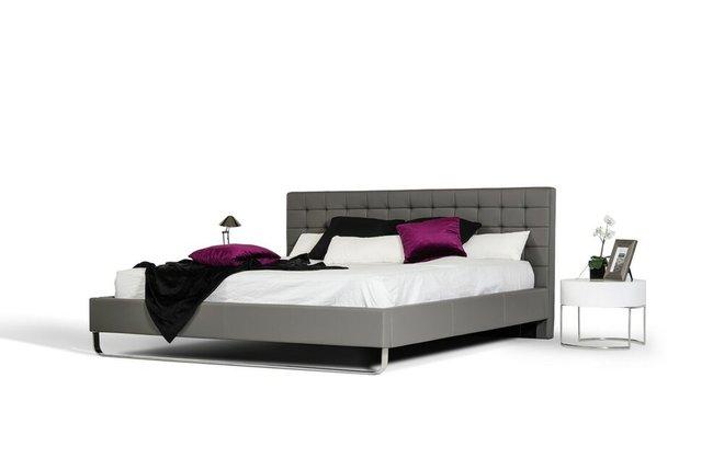 Modrest Gemma Modern Leatherette Eastern King Bed Gray