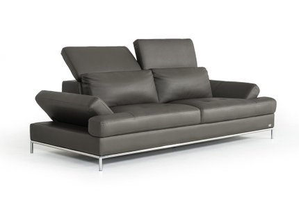 Divani Casa Izzy Eco-Leather Sofa Dark Gray