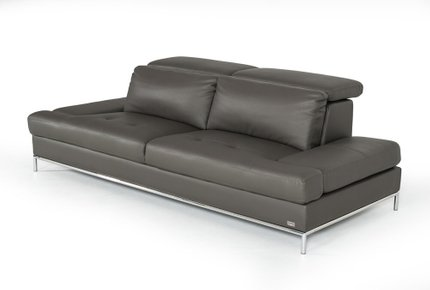 Divani Casa Izzy Eco-Leather Sofa Dark Gray