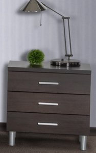 Bravo Modern Wenge 3 Drawer Nightstand