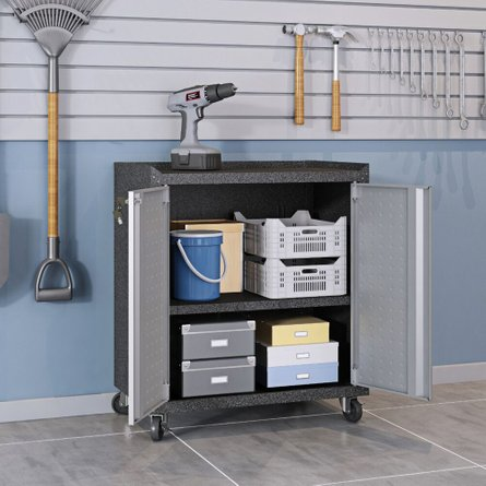 Fortress 3 Piece Set, Mobile Garage Cabinet & Worktable 3.0 Gray/Brown