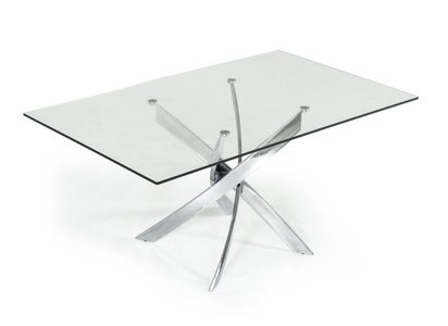 Modrest Pyrite Modern Rectangular Dining Table Glass