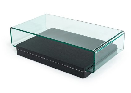 Modrest Vitro Modern Coffee Table Glass and Oak