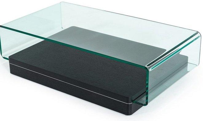 Modrest Vitro Modern Coffee Table Glass and Oak