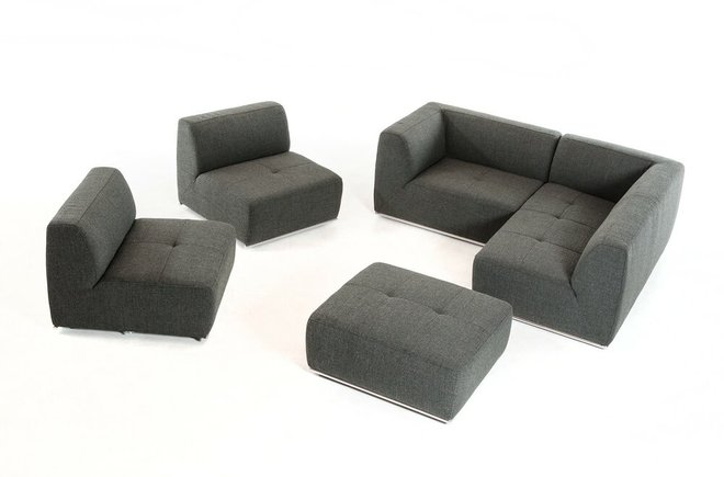 Hawthorn Modern Right Extended Sectional Sofa With Ottoman Gray