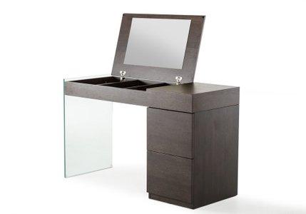 Modern Floating Glass Vanity with Mirror Brown Oak