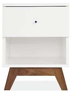 Flynn Nightstand White And Walnut
