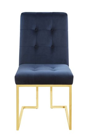 Scott Living Modern Dining Chair Ink Blue And Gold (Set Of 2)