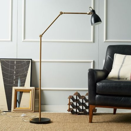 West Elm CFL Industrial Task Floor Lamp Black & Antique Brass
