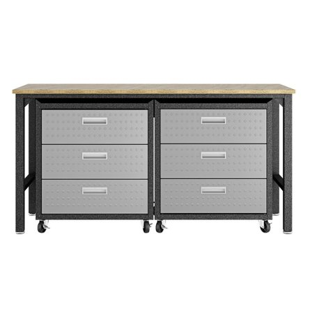 Fortress 3 Piece Set, Mobile Garage Cabinet & Worktable 6.0 Gray/Brown