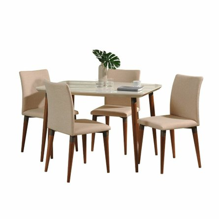 "Charles 45.27"" Dining Set For 4, Off White/Dark Beige"