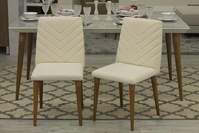 Utopia Chevron Dining Chair Beige (Set Of 2)