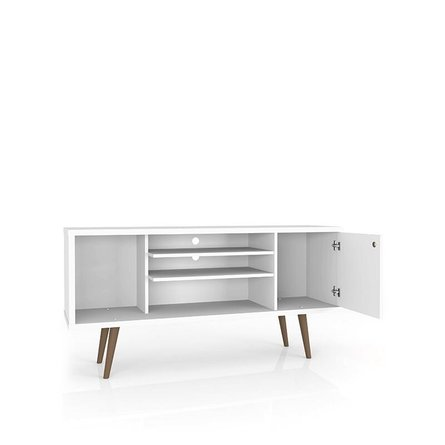"""Liberty 53.14"""" Mid Century Modern TV Stand 5 Shelves White/3D Brown Prints"""