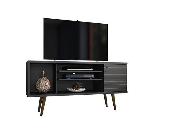 "Liberty 53.14"" Mid Century Modern TV Stand 5 Shelves Black"
