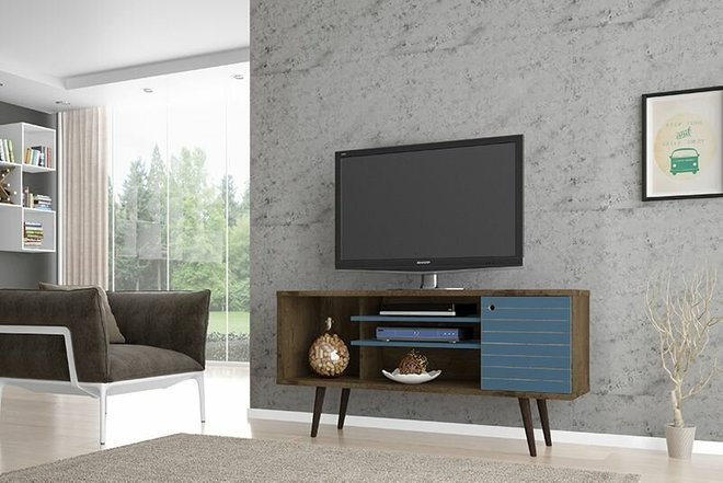 "Liberty 53.14"" TV Stand Brown/Aqua Blue"