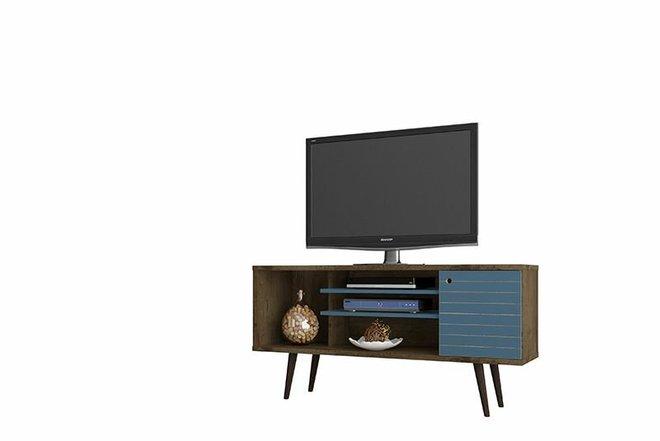 """Liberty 53.14"""" TV Stand Brown/Aqua Blue"""