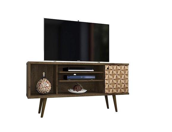 "Liberty 53.14"" Mid Century Modern TV Stand 5 Shelves Brown/3D Brown Prints"