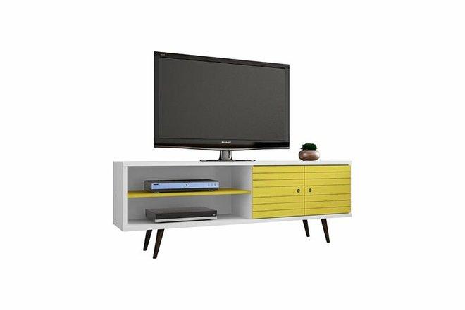 "Liberty 62.99"" TV Stand White/Yellow"