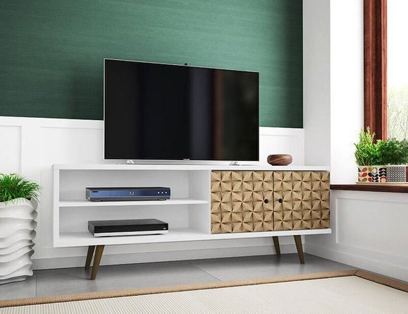"""Liberty 62.99"""" Mid Century Modern TV Stand White/3D Brown Prints"""