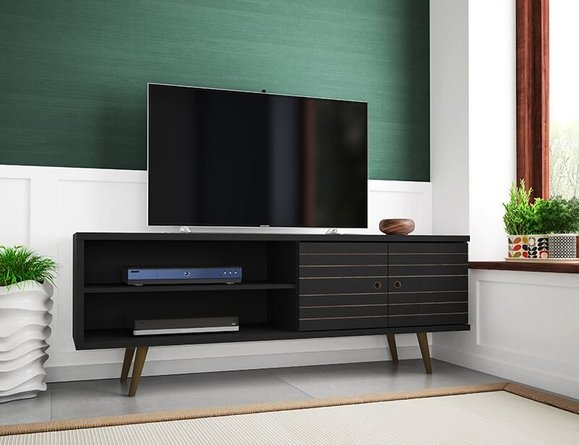 """Liberty 62.99"""" Mid Century Modern TV Stand 3 Shelves Stand Black"""