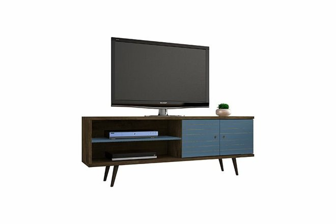 "Liberty 62.99"" TV Stand Brown/Aqua Blue"