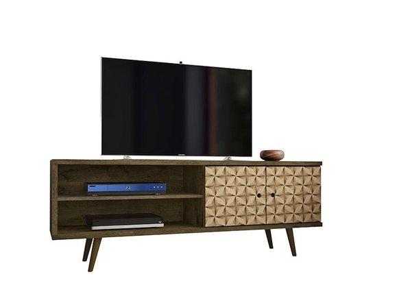 "Liberty 62.99"" Mid Century Modern TV Stand 3 Shelves Brown"