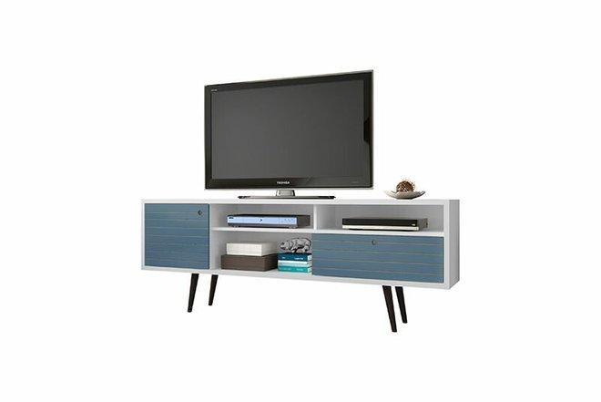 "Liberty 70.86"" TV Stand White/Aqua Blue"