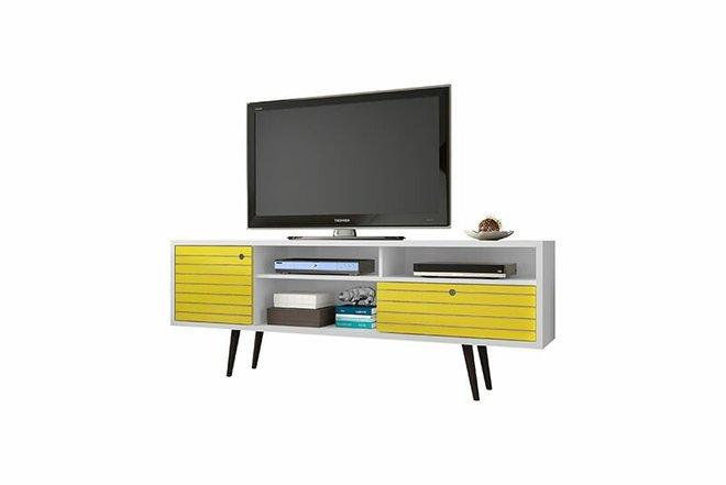 "Liberty 70.86"" TV Stand White/Yellow"