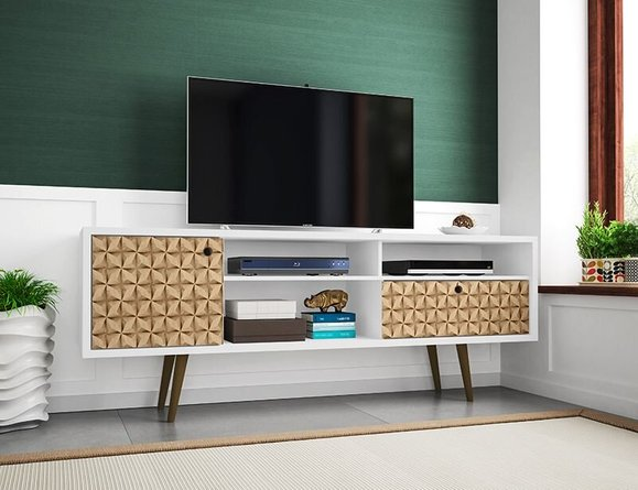 """Liberty 70.86"""" Mid Century Modern TV Stand 4 Shelves White/3D Brown Prints"""
