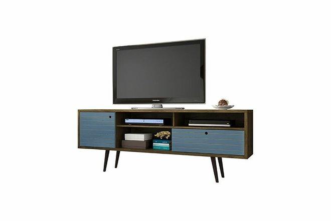 """Liberty 70.86"""" TV Stand Brown/Aqua Blue"""