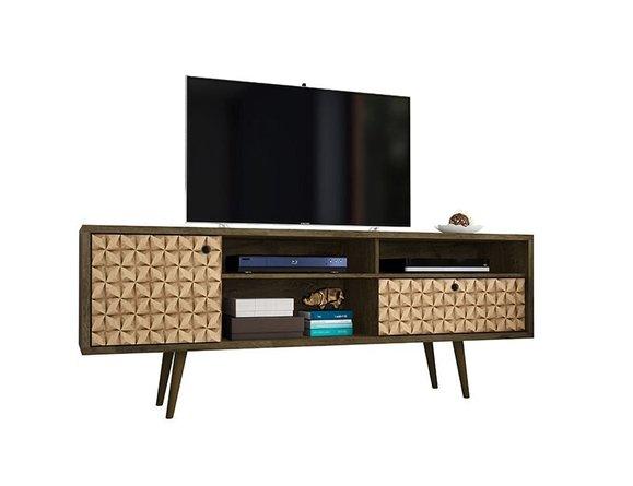 "Liberty 70.86"" Mid Century Modern TV Stand 4 Shelves Brown"