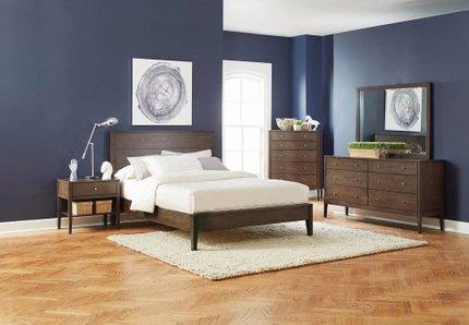 Lompoc Mid-Century Modern Queen Bed Brown Walnut